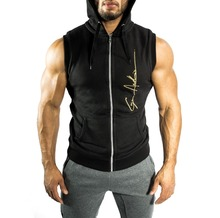 Men Gyms Athleticing Fashion Zip-up Bodybuilding Sleeveless Hoodie Hooded Sweatshirt Workout Sporting Hoodie Coat Clothes