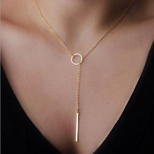 SUSENSTONE Hot simple necklace Womens Chic Y Shaped Circle Lariat Style Chain Jewelry Necklace