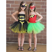 Latest Baby Girl Super Hero Tutu Dress Children Girl Halloween Costume Summer Dress Batman and Robin Tutus for Party/Birthbay