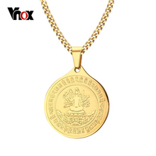Vnox Avalokitesvara Gold-color Stainless Steel Round Necklaces & Pendants Free Chain 24""