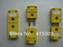 OMEGA Type Miniature K Type thermocouple Connector Male and Femal yellow Color Flat Pin thermocouple plug(China)