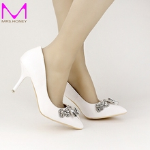 White Soft Leather Bridal Dress Shoes Pointed Toe Wedding Shoes 5cm/7cm/9cm Shining Crystal Prom Party High Heels New Arrival