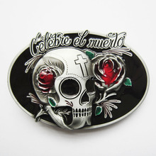 Distribute Belt Buckle Oval Tattoo Rose Flower Skull Belt Buckle Free Shipping 6pcs Per Lot Mix Style is Ok