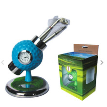 personalized golf ball design desktop golf pen and pen holder golf watch gift with mini club pen(China)