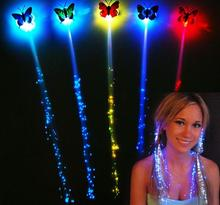LED flash butterfly fiber braid party dance lighted up glow luminous hair extension rave halloween decor Christmas festive favor