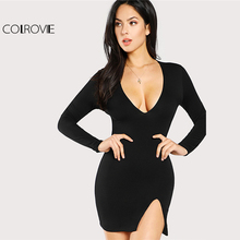 Buy COLROVIE 2018 Plain Deep V Neck Long Sleeve Winter Mini Dress Black Slit Front Form Fit Sexy Dress Women Short Party Dress for $14.99 in AliExpress store