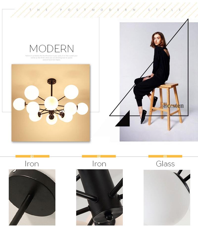 Horsten Nordic Creative Magic Bean Pendant Lights 6812 Heads Glass Ball Pendant Lamp For Living Dining Room Cafe Restaurant E27 (9)