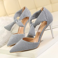 Buy ---Summer High Heels Shoes Sexy Elegant Sequins Thin Heeled Shoes High Heels Hollow Bow High Sandals Ankle Strap Single shoes 4 for $27.11 in AliExpress store