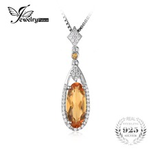 JewelryPalace Oval 2.4ct Yellow Genuine Citrine Pendant Necklace 925 Sterling Silver Box Chain 45cm 2016 Fine Jewelry For Women(China)
