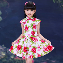 New Arrival 2017 Girls Clothes Chinese Cheongsam Cotton Children's A-Line Elegant Dresses Kids Baby Traditional Chinese Garments