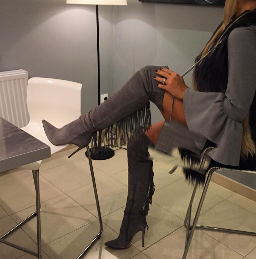 2017 Winter Women Shoes Gray Pointed Toe Fringe Exteme Thigh High Boots Sexy Suede Leather Over the Knee High Boots Botas Mujer<br><br>Aliexpress