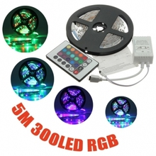 Free Shipping 5050SMD 12V RGB Led Strip Light 30LEDs/M Waterproof Only RGB/ Changeable Color with 24Keys Controller