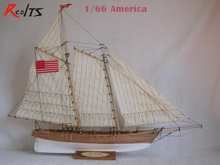 RealTS Classic wooden sailing boat model assemble kit 1/66 American boat kit DIY model(China)