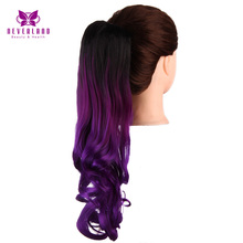 Neverland 50cm Two Tone Ombre Claw On Ponytail Wavy Grey Blue Purple Heat Resistant Synthetic Hair Extensions False Hair Tail(China)