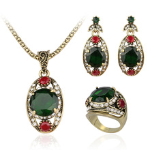 2016 Fine 3 Pcs Austrian Crystal Jewelry Sets Ancient Bronze Plated  Green Ring + Necklace + Eearrings For Women