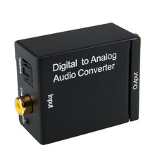 DAC Digital Optical SPDIF Coax To Analog L/R RCA Audio Converter Adapter Support  AMP Analog L/R stereo audio Output