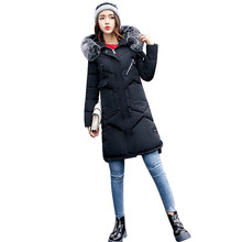 Real Fur Collar Womens Parka Puffer Down Jacket With Fur Hood 2017 Winter Plus Size Ladies Long Padded Coats Fourrure Femme 3XL(China)