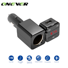 Onever FM Transmitter Bluetooth Car Kit Music Player Radio Modulator with Cigarette Lighter Socket Support TF Card and USB Flash(China)