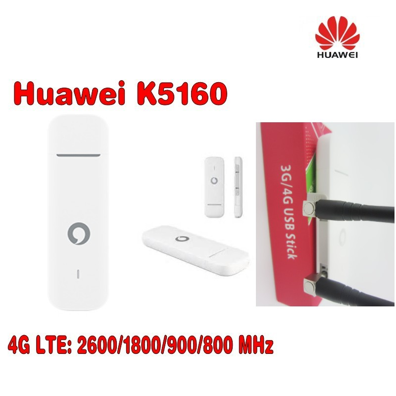 Unlocked Huawei K5160 4G LTE USB Dongle USB Stick plus 2pcs 4g CRC9 antenna