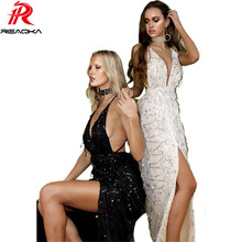 Black gold High split sequined evening party long maxi dress 2017 New sleeveless deep v neck sequins strap dresses club wear