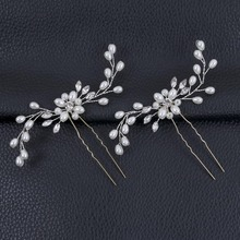 2Pcs Bridal Crystal Pearl Flower Hair Pins Wedding Party Pageant Hairpins Bridesmaid Bride Headpiece Hair Jewelry Accessories(China)