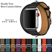 Newest Genuine Leather double tour and Revit Custom watch band straps for apple watch series 1 2 3 iwatch herme watchbands(China)