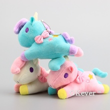Kawaii 3 Pcs/Lot Little Twin Stars Unicorn Horses Plush Keychain Cute Mini Soft Stuffed Animals 14 cm Children Gift