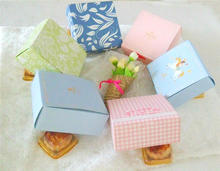 12*12*4.5cm 10 Pcs 6 Color Cookie Chocolate Paper Box Wedding Party Birthday Baby Shower Decoration Candy soap Gift Boxes
