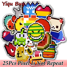 25 Pcs Pixel Stickers for Skateboard Fridge Bicycle Motorcycle Car Styling Laptop Luggage Home Decor Decals Waterproof Sticker(China)