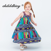 ChildDkivy 3-14 Years Baby Girls Summer Dress 2017 Kids Princess Party Dresses For Girls Children Bohemian Fashion Dresses(China)