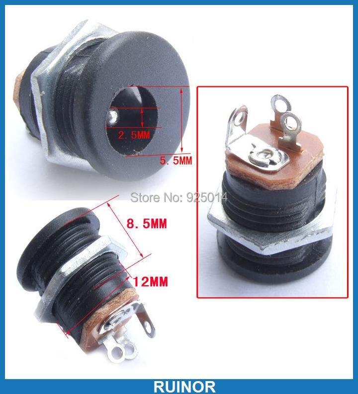 100PCS 2.5mm DC Power Charger Socket 5.5MM 2.5MM DC Plug Panel Mount DC-022<br>