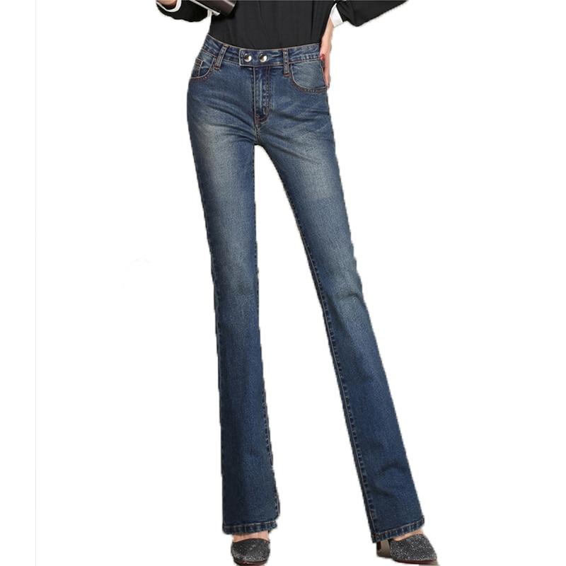 {Guoran} Plus size 33 32 women denim jeans trousers high waist blue jeans flare pants femme pantalon 2017 loose fashion pantОдежда и ак�е��уары<br><br><br>Aliexpress