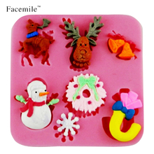 Free shipping 3D Christmas Series Cartoon Deer bell Snowman silicone fondant soap,candle chcoclate moulds sugar craft tool 50-21(China)