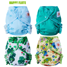 Happy Flute Healthy Organic Cotton Newborn Diapers Tiny AIO Cloth Diaper, Double Gussets Waterproof PUL Fit 3-6KG Baby(China)