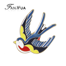 FANHUA  New Gold-Color with Red Blue Yellow Enamel Lovely Bird Swallow Brooches for Fashion Lady Accessories
