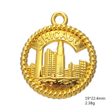 Minimal Fashion 15pcs/lot Zinc Alloy Metal Chicago City Charms for DIY Souvenir Jewelry Making accessories(China)