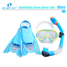 high quality snorkeling gear  flippers+diving mask+full dry breathing tube for children