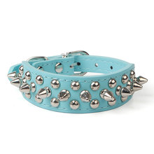 1PC Dog Collars For Small Dogs Collar PU Leather Spike Studded Collar Perro Pet Accessories Dog Mascotas Animal Blue Pink Red