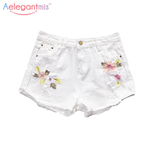 Aelegantmis Summer Plus Size White Hole Floral Embroidery Denim Shorts High Waist 2017 New Fashion Ripped Jean Shorts Women Blue