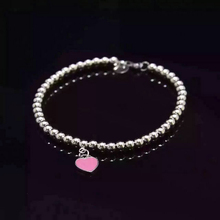 AAA Quality Fashion Blue Pink Green Enamel Heart Bead Bracelet For Female Popular Jewelry Gift(China)
