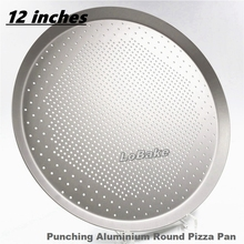 Latest 12 inches 0.16cm thicken punching design anodising aluminium round shallow pizza pan biscuit pancake plate DIY bakery(China)
