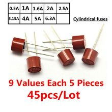 9Values,45pcs total Cylindrical fuse 382 Cylindrical plastic fuse 9 Values Each 5 Pieces for LCD TV power board commonly used