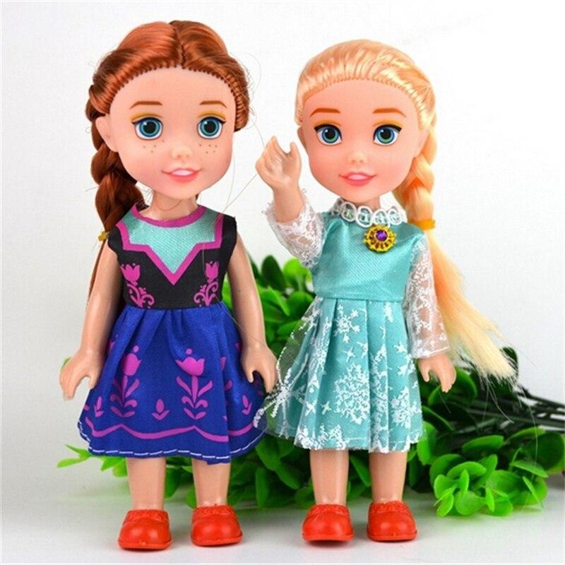 2pcs/lot Boneca 16 cm Elsa Doll Girls Toys Fever 2 Princess Anna And Elsa Dolls Clothes For Dolls birthday gift<br><br>Aliexpress