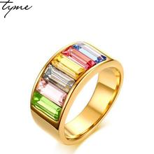 TYME 2017 New fashion products 9mm stainless steel gold-color ring for woman jewelry rainbow gold color beautiful ring for woman(China)