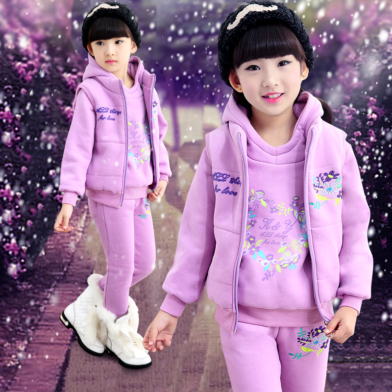 Long Sleeves T-shirt+hooded Zipper Vest+patchwork Pants Sets 3PC Girl Childrens Sets  Parkas Thick Coat Girl Pants Clothes Set<br>
