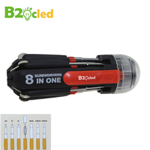 8-in-1 Multifunction Screwdriver torch LED flashlight Bolt driver 1mm 3.5mm 4.5mm 6.5mm Screwdriver head 2 speed torch light(China)