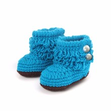 Shoes Baby Wool Knitting Baby Girls Crochet Handmade Knit High-top Tall Boots Shoes Chaussure Enfant(China)
