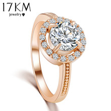 17KM 2/Color hot New Design Fashion Rose Gold Color Zircon Crystal Rings for women jewelry Silver color Wedding Ring(China)