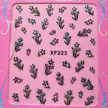 newest free shipping 3d XF Nail Sticker supplier black with diamond with the beautiful card package(China)