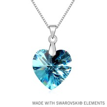 New Sales Hot Real Austrian Crystals    heart pendant necklace Austrian Crystal jewelry for women #QS10494